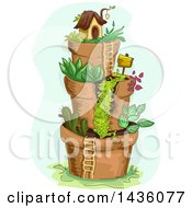 Clipart Of A Fairy Garden Village Of Stacked Pots Royalty Free Vector Illustration