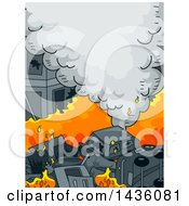 Clipart Of A Street Of Burning Cars Royalty Free Vector Illustration