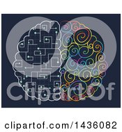 Clipart Of A Brain With Colorful And Circuit Hemispheres Royalty Free Vector Illustration