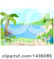 Clipart Of A Prehistoric Landscape With Palm Trees And A Beach Royalty Free Vector Illustration