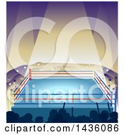 Clipart Of A Light Shining Down On An Empty Boxing Ring Royalty Free Vector Illustration