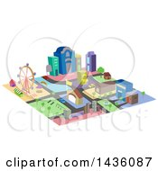 Clipart Of A Colorful Mini City Made Of Blocks Royalty Free Vector Illustration by BNP Design Studio