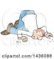 Clipart Of A Cartoon Caucasian Man With His Ear To The Ground Royalty Free Vector Illustration
