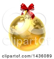 Clipart Of A 3d Gold Earth Globe Christmas Bauble With A Red Bow Royalty Free Vector Illustration by AtStockIllustration