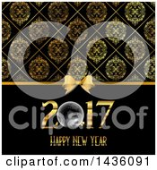 Clipart Of A Happy New Year 2017 Greeting Under A Bow And Damask Pattern Royalty Free Vector Illustration