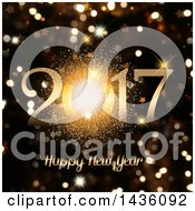 Clipart Of A Firework Happy New Year 2017 Greeting Over Golden Sparkle Bokeh Flares Royalty Free Illustration by KJ Pargeter