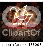 Clipart Of A Happy New Year 2017 Greeting Over A 3d Deck And Blurred Gifts Royalty Free Illustration