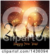 Clipart Of A Happy New Year 2017 Greeting In Silhouetted Grass Against Sparkles And Flares Royalty Free Vector Illustration