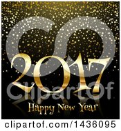 Clipart Of A Golden Happy New Year 2017 Greeting On Black With Stars Royalty Free Vector Illustration
