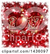 Clipart Of A Happy New Year Bauble Greeting Over Red Glitter With A Border Of White Snowflakes Royalty Free Illustration
