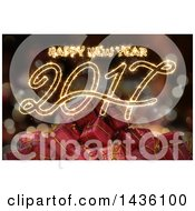 Clipart Of A Happy New Year 2017 Sparkler Greeting Over 3d Gift Boxes And Bokeh Royalty Free Illustration by KJ Pargeter