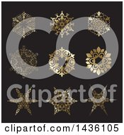 Clipart Of Beautiful Gradient Golden Snowflakes On Dark Gray Royalty Free Vector Illustration