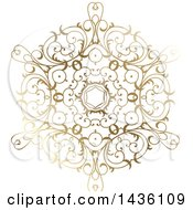Clipart Of A Beautiful Gradient Golden Snowflake Royalty Free Vector Illustration by KJ Pargeter