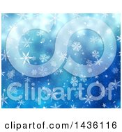Clipart Of A Blue Background Of Snowflakes Royalty Free Illustration