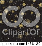 Clipart Of A Gold And Black Background Of Snowflakes Royalty Free Vector Illustration