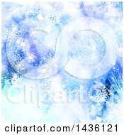 Clipart Of A Blue Watercolor Background With Snowflakes Royalty Free Vector Illustration