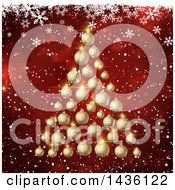 Clipart Of A 3d Christmas Tree Of Golden Bauble Ornaments Over Red Bokeh Flares With White Snowflakes Royalty Free Vector Illustration