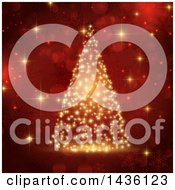 Clipart Of A Christmas Tree Of Golden Sparkles Over Red Bokeh Flares And Snowflakes Royalty Free Vector Illustration