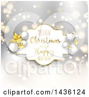 Clipart Of A Merry Christmas And A Happy New Year Greeting Frame With Stars And Baubles Over A Gray Bokeh Pattern Royalty Free Vector Illustration