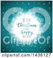 Clipart Of A Merry Christmas And A Happy New Year Greeting In A Frame With Snowflakes On Teal Royalty Free Vector Illustration