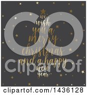 Clipart Of A Merry Christmas And A Happy New Year Greeting Forming A Tree Over Gray With Gold Stars Royalty Free Vector Illustration by KJ Pargeter