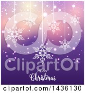 Clipart Of A Merry Christmas Greeting With Suspended Snowflakes Over Purple Bokeh Royalty Free Vector Illustration