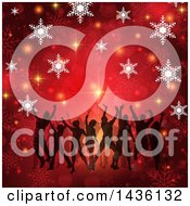 Clipart Of A Group Of Silhouetted Daners On A Golda Nd Red Christmas Snowflake Background Royalty Free Vector Illustration
