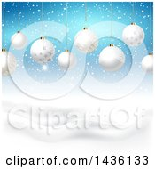 Clipart Of A Backgound Of 3d Suspended White Christmas Baubles Over A Winter Landscape And Blue Sky Royalty Free Vector Illustration by KJ Pargeter