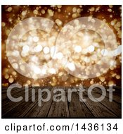 Clipart Of A 3d Wood Table Or Deck With Golden Bokeh Light Flares Royalty Free Illustration