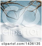 Clipart Of A 3d Winter Landscape Of Snow Covered Hills And Bare Tree Branches Royalty Free Illustration