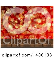 Poster, Art Print Of 3d Wood Table Or Deck With Heart Shaped Bokeh Flares