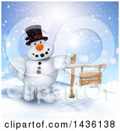Clipart Of A 3d Snowman Leaning On A Wood Sign In A Winter Landscape Royalty Free Illustration