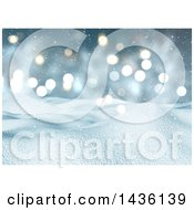 Clipart Of A 3d Winter Landscape Of Snow Covered Hills And A Bokeh Sky Royalty Free Illustration