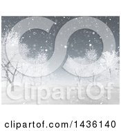 Clipart Of A 3d Winter Landscape Of Snow Covered Hills And Bare Trees Royalty Free Illustration