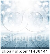 Clipart Of A 3d Winter Landscape Of Snow Covered Hills A Deck And Snowflakes Royalty Free Illustration