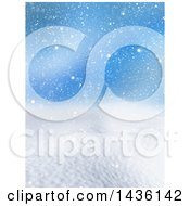 Clipart Of A 3d Winter Landscape Of Snow Covered Hills And Blue Sky Royalty Free Illustration by KJ Pargeter