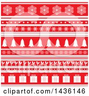 Clipart Of A Red And White Christmas Background With Rows Of Snowflakes Stars Trees Holly And Gifts Royalty Free Vector Illustration