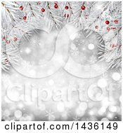 Clipart Of A Christmas Tree Branch Background With Berries Over A Silver Bokeh Snowflake Background Royalty Free Illustration