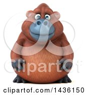 Clipart Of A 3d Orangutan Monkey Mascot On A White Background Royalty Free Illustration
