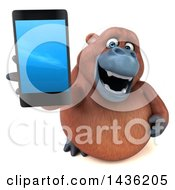 3d Orangutan Monkey Mascot With A Smart Phone On A White Background