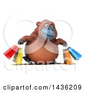 3d Orangutan Monkey Mascot Carrying Shopping Bags On A White Background