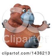 Clipart Of A 3d Orangutan Monkey Mascot Meditating On A White Background Royalty Free Illustration