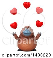 Poster, Art Print Of 3d Orangutan Monkey Mascot Juggling Hearts On A White Background