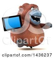 3d Orangutan Monkey Mascot Holding A Tablet Computer On A White Background