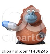 3d Orangutan Monkey Mascot Holding A Pill On A White Background