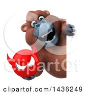 Clipart Of A 3d Orangutan Monkey Mascot Holding A Devil Head On A White Background Royalty Free Illustration