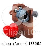 Poster, Art Print Of 3d Orangutan Monkey Mascot Holding A Heart On A White Background