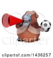 3d Orangutan Monkey Mascot Holding A Soccer Ball On A White Background
