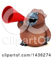 Clipart Of A 3d Orangutan Monkey Mascot Using A Megaphone On A White Background Royalty Free Illustration
