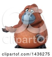 Clipart Of A 3d Orangutan Monkey Mascot Presenting On A White Background Royalty Free Illustration by Julos